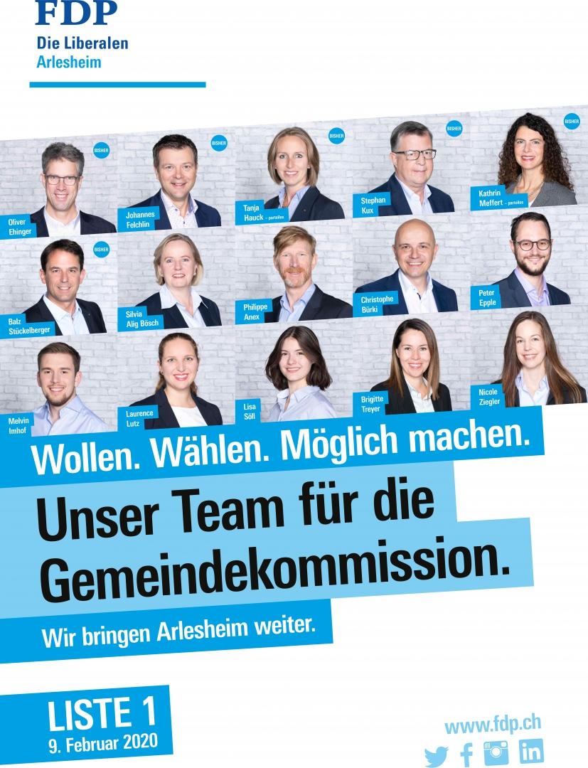 Kandidierende Gemeindekommission - Liste 1 FDP.Die Liberalen Arlesheim